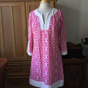JUDE CONNALLY PINK AND WHITE SHIFT DRESS